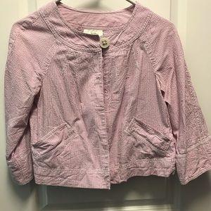 Loft pink seersucker jacket